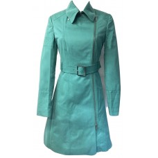 Karen Millen Colourful Trench Cotton Coat Green