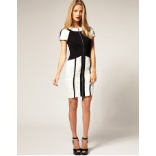 Karen Millen Black White Graphic Ruching Pencil Dress