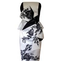 Karen Millen Oriental Embroidered Satin Dress Black White