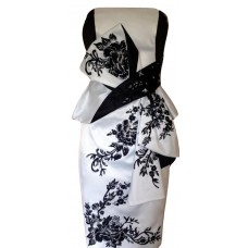 Karen Millen Oriental Embroidered Satin Dress Black White