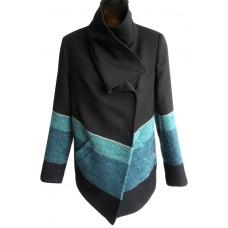 Karen Millen Drape Front Jacket Blue Multi