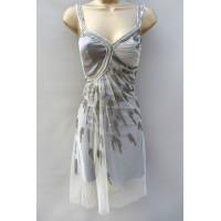 Karen Millen Beaded Low Back Dress Neutral Grey