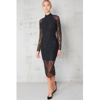 Lavish Alice Velvet Sequin Midi Dress Black