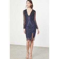 Lavish Alice Embroidered Lace Mesh Dress Blue