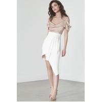 Lavish Alice Asymmetric Skirt White