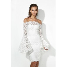 Miss Holly Georgette Off The Shoulder Lace Dress in White