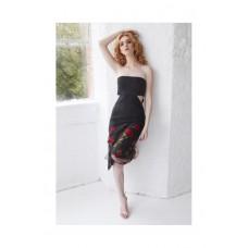 Sarvin Gwyneth Strapless Floral Dress Black
