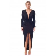 Sarvin Bianca Deep V-Neck Front Maxi Dress Black