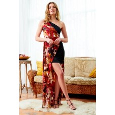 Sarvin Claret Black Floral One Shoulder Dress