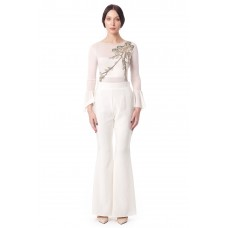 Sarvin Cobie Ivory Flared Trousers