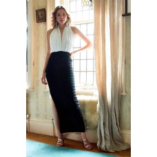 Sarvin Dakota Backless Lace Gown Black White