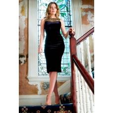 Sarvin Dawn Velvet Midi Dress Black