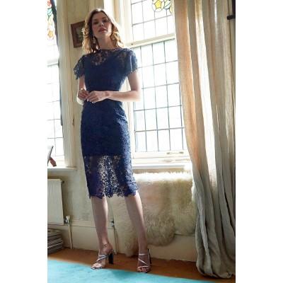 Sarvin Hannah Lace Midi Dress Blue