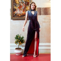 Sarvin Karolina Velvet Ball Gown Grey
