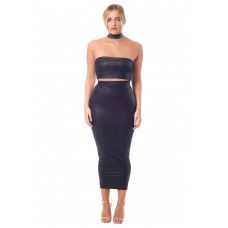 Sarvin Black Kate leatherette bodycon midi skirt