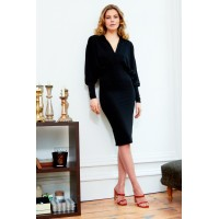 Sarvin Lea Batwing Midi Dress Black