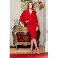 Sarvin Lea Batwing Red Midi Dress