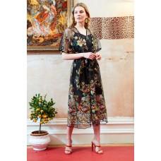 Sarvin Natalie Black Floral Midi Dress