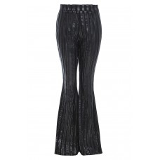 Sarvin Sly Black Stripe Sheer Flared Trousers