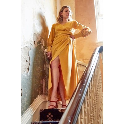 Sarvin Amber Mustard Wrap Maxi Gown