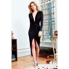 Sarvin Bianca Deep V-Neck Split Front Maxi Dress Black