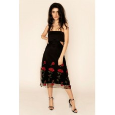 Sarvin Gwyneth Strapless Floral Dress Black