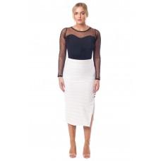 Sarvin Caira Lace Midi Skirt White