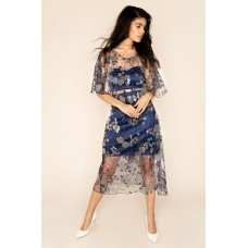 Sarvin Doutzen Lace co-ord Midi Dress Blue