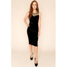 Sarvin Dawn Velvet Midi Dress Black