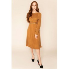 Sarvin Shay Gold Long Sleeved Midi Dress