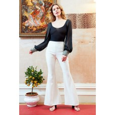 Sarvin Callie Ivory Striped Flared Trousers