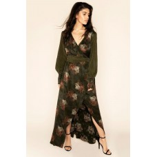 Sarvin Verdant Wrap Floral Maxi Dress