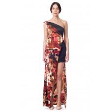 Sarvin Claret Black Floral One Shoulder Dress
