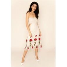 Sarvin Gwyneth Strapless Floral Dress Ivory