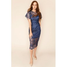 Sarvin Hannah Lace Midi Dress Blue