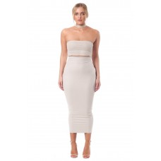 Sarvin Ivory Kate Bodycon Leatherette Midi Skirt