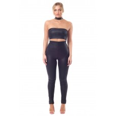 Sarvin Black Kate Skinny Leatherette Trousers