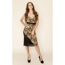 Sarvin Hope Guipure Lace Midi Dress Caramel Black