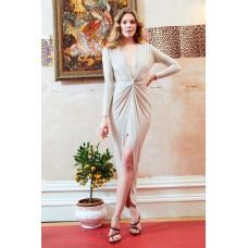 Sarvin Bianca Deep V-Neck Split Front Maxi Dress Stone
