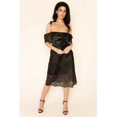 Sarvin Olivia Embroidered lace off shoulder Dress Black