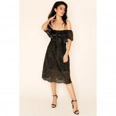 Sarvin Olivia Embroidered lace off shoulder Dress Black