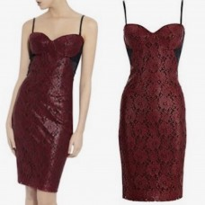 Bastyan Red Lucky Lace Corset Dress