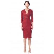 Sarvin Alisha Zip front bodycon leatherette Red Midi Dress
