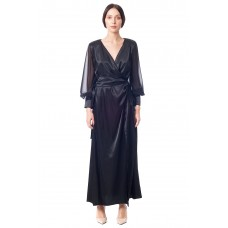 Sarvin Amber Black Wrap Gown