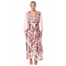Sarvin Amber Pink Floral Wrap Gown