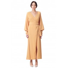 Sarvin Amber Mustard Wrap Gown