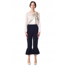 Sarvin Ashlee Flared Cropped Frill Trousers Black