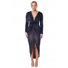 Sarvin Bianca Deep V-Neck Front Maxi Dress Black Shimmer