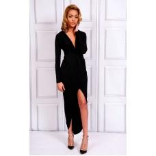 Sarvin Bianca Deep V-Neck Front Dress Black