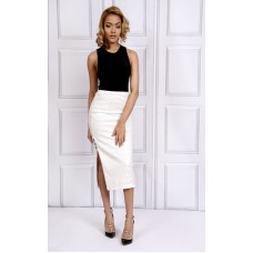 Sarvin Caira Lace Skirt White